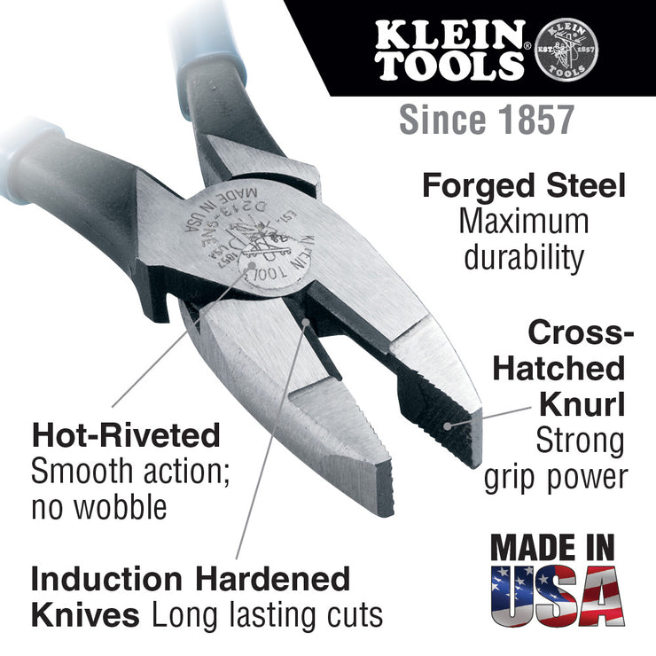 Klein Tools D213-9NE High Leverage Pliers, New England Nose, 9-Inch, Side Cutters