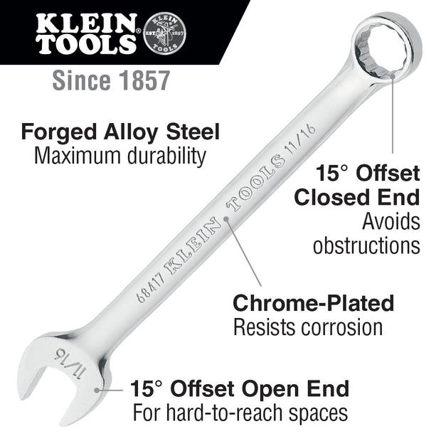 Klein Tools 68413 7/16-Inch Combination Wrench, 12-Point