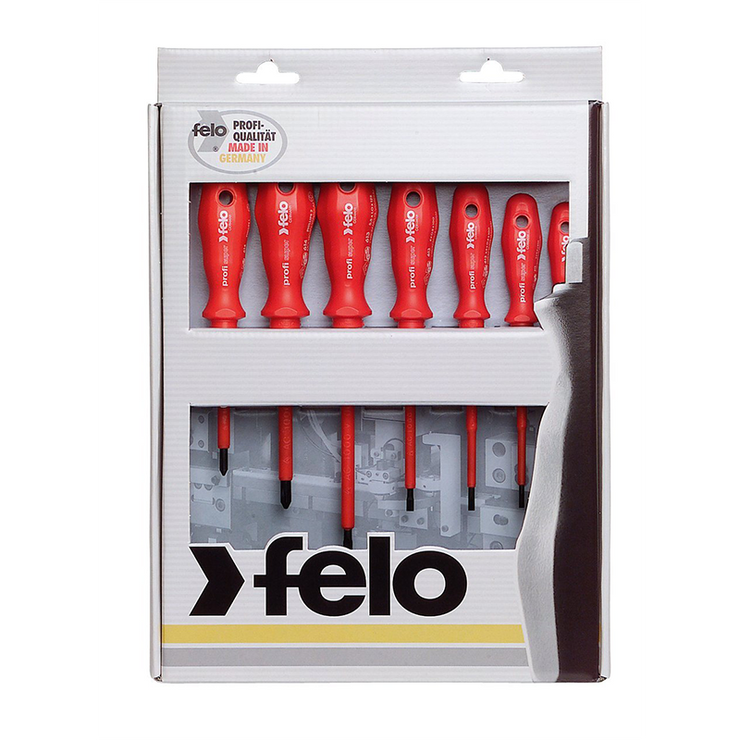 Felo 0715751401 Insulated Phillips & Slotted Screwdrivers Set, 7 Piece