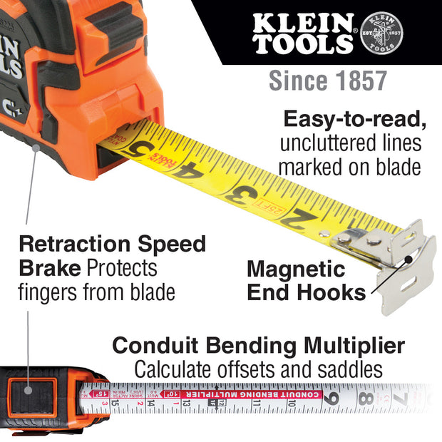 Klein Tools 86225 Tape Measure, 25-Foot Double Hook Magnetic with Finger Brake, Easy to Read Bold Lines
