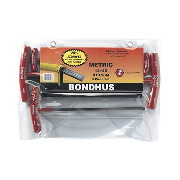 Bondhus 13148 Ball End Metric T-Handles Set, 5 Pc.