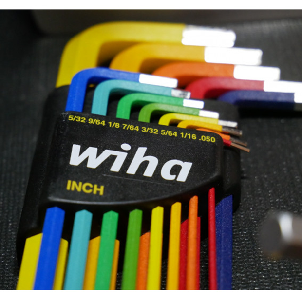 Wiha Tools 66981 Ball End Color Coded Inch Hex L-Key Set, 13 Pc.