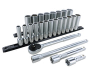 Wiha Tools 33893 1/2 Inch Drive 12 Point Deep Socket Set 10-32mm with Ratchet and Extensions 25-Piece