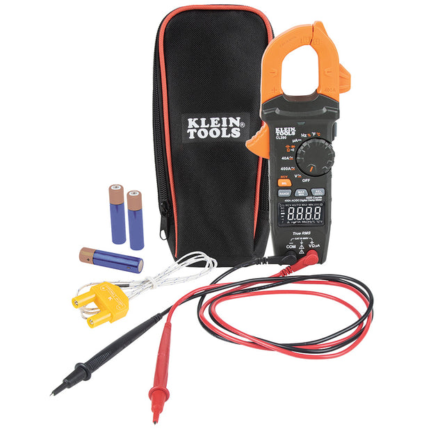 Klein Tools CL390 Digital Clamp Meter, Auto Ranging 400 AMP Measures Electronic AC/DC Voltage AC/DC Current Resistance  and TRMS