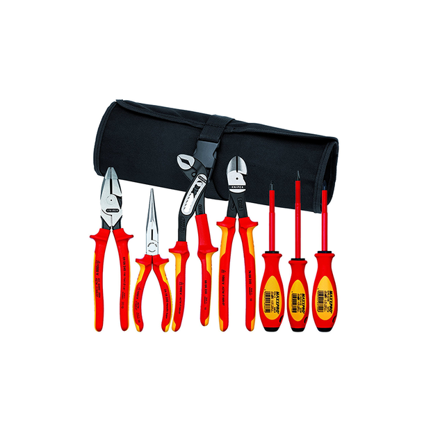 Knipex 9K 98 98 26 US Pliers / Screwdriver Tool Set w/Lineman - Insulated 1,000V, Nylon Pouch, 7 Pieces