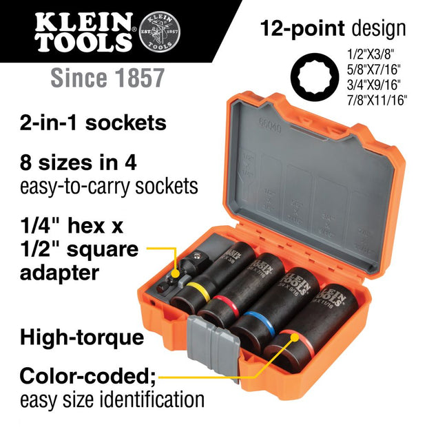 Klein Tools 66040 2-in-1 Impact Socket Set, 5-Piece
