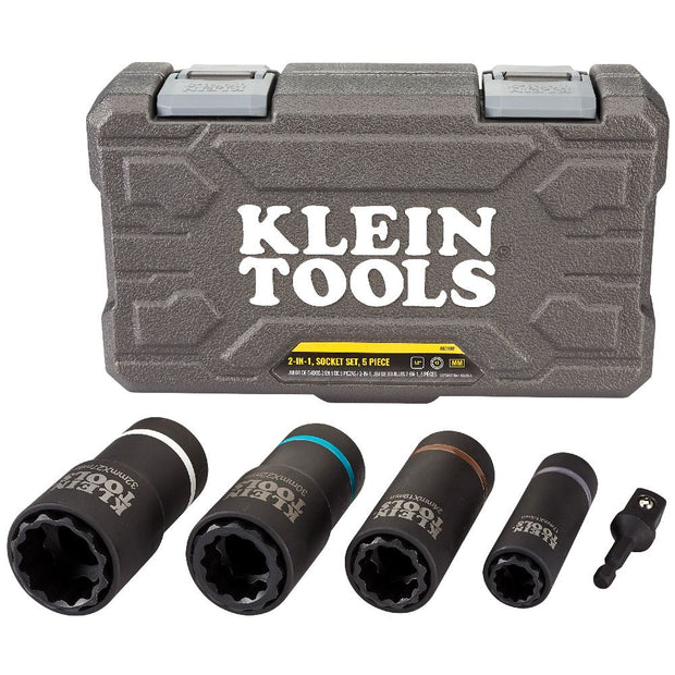 Klein Tools 66050E 2-in-1 Metric Impact Socket Set, 12-Point, 5-Piece