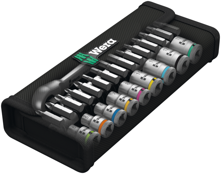 "Wera 05004018001 Zyklop Metal Ratchet 1/4"" Drive with Switch Lever Metric Set, 28 Piece"