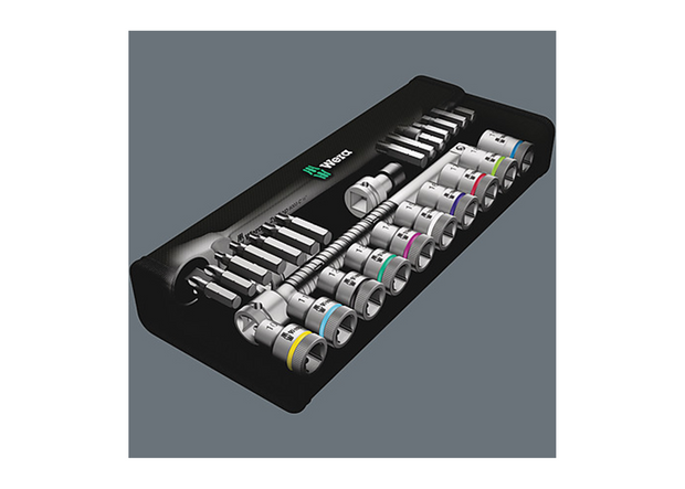 "Wera 05004080001 8100 SC 10 Zyklop Metal Ratchet Set with push-through square, 1/2"" drive, imperial"