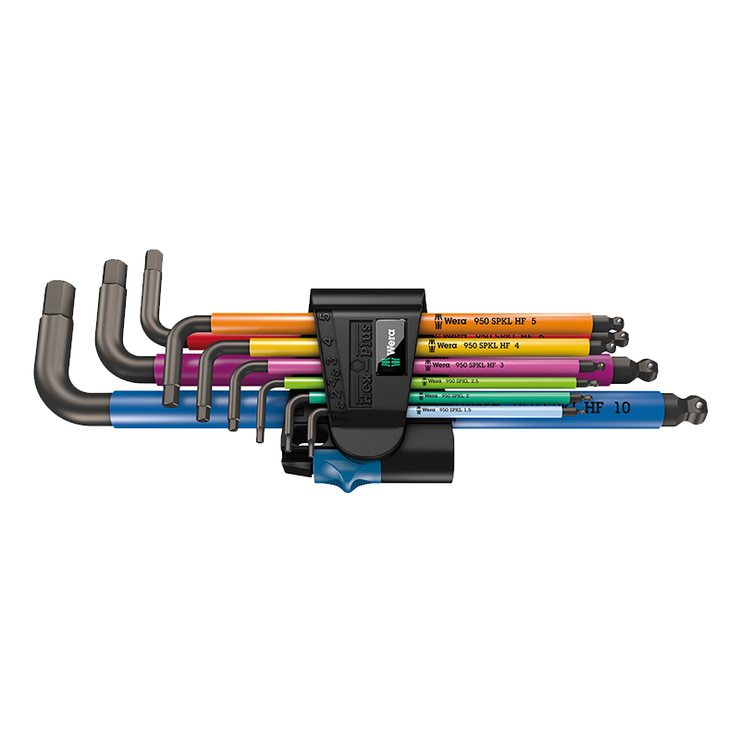 Wera 05022210001 950/9 Hex-Plus Multicolour HF 1 L-Key Set, Metric, BlackLaser, with Holding Function, 9 Pc.