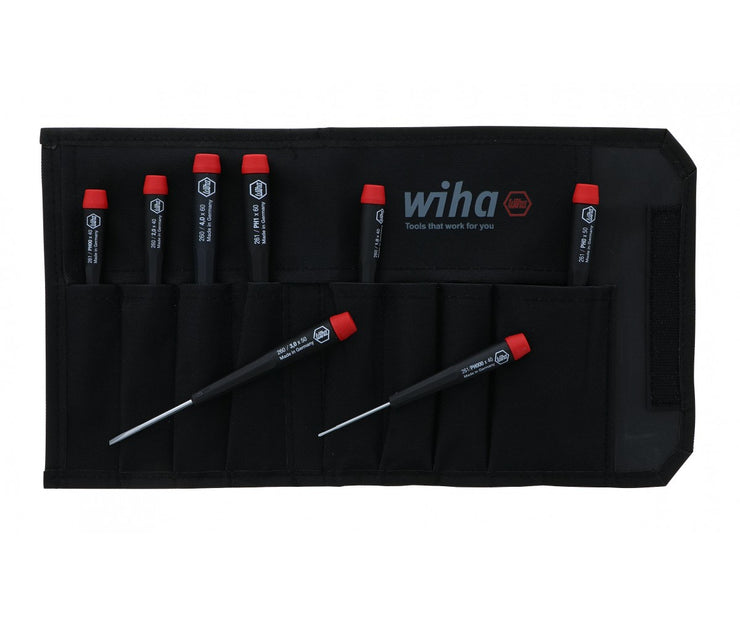 Wiha Tools 26199 Slotted and Phillips Screwdriver Set in Rugged Canvas Pouch, 8 Piece