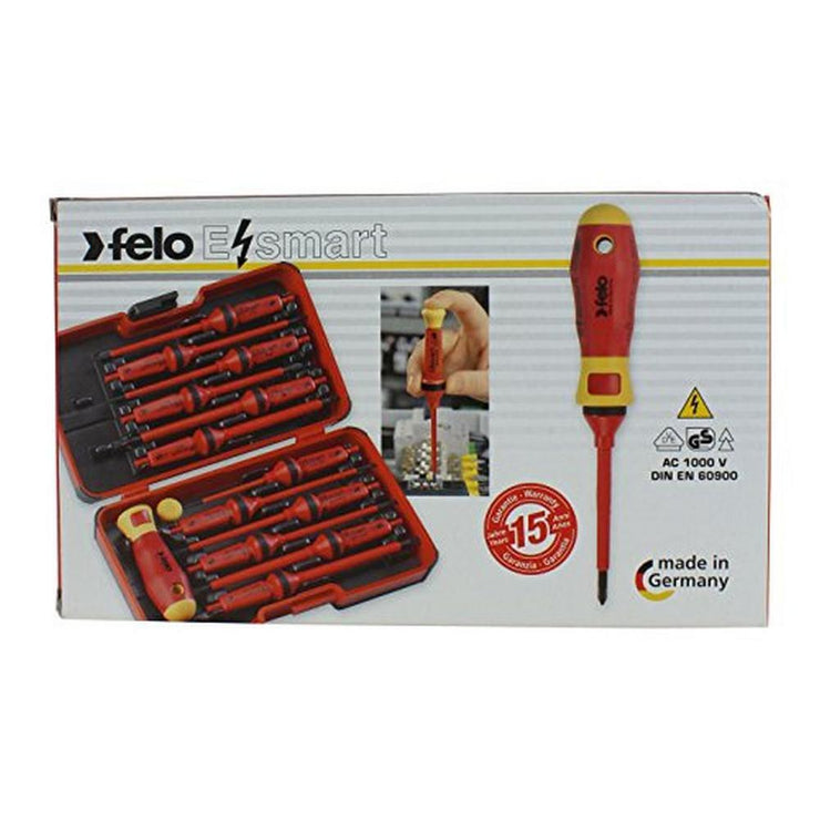 Felo 0715751719 E-Smart 14 Piece Set - Slotted, Phillips, Pozidriv, Torx Tip Insulated Blades with 2 Handles