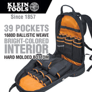 Klein Tools 55421BP-14 Backpack, Electrician Tool Bag, Tradesman Pro Organizer, 39 Pockets and Molded Base