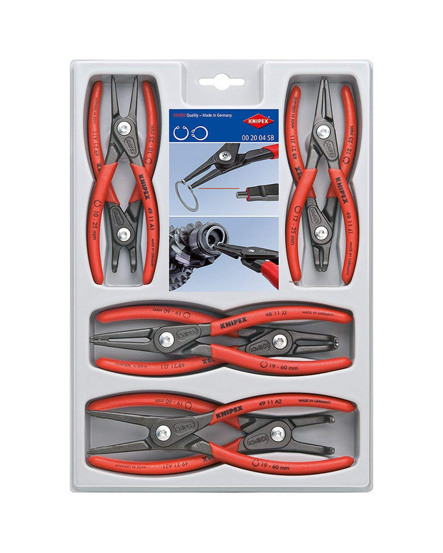 Knipex 00 20 04 SB, Precision Circlip Snap-Ring Pliers 8-Piece Set