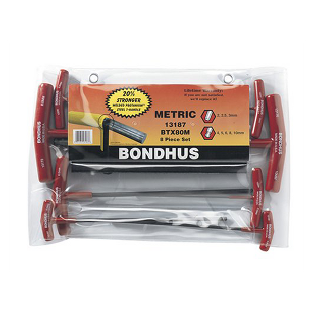 Bondhus 13187 Balldriver and Hex T-handles, 8 Piece