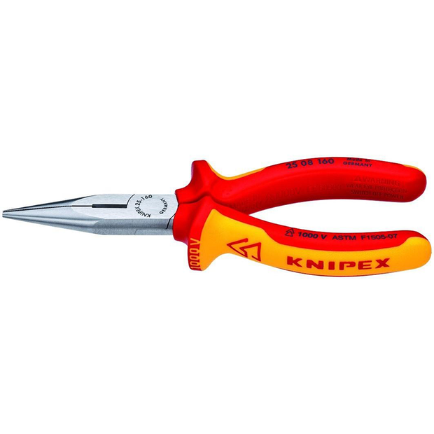 Knipex 25 08 160 SBA Long Nose Pliers with Cutter-1,000V Insulated
