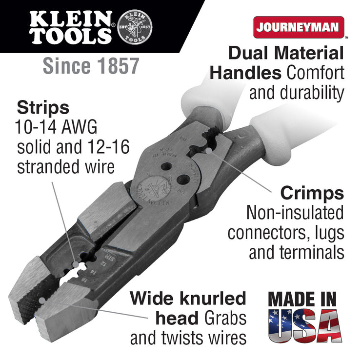 Klein Tools J215-8CR Pliers, Hybrid Multi Purpose Tool with Crimper, Bolt Shearing Holes and Stripper