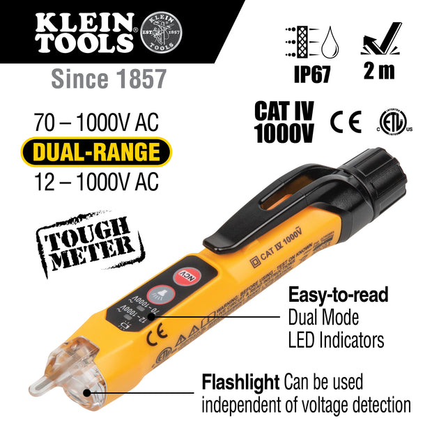 Klein Tools NCVT3P Dual Range Non-Contact Voltage Tester with Flashlight, 12 - 1000V AC