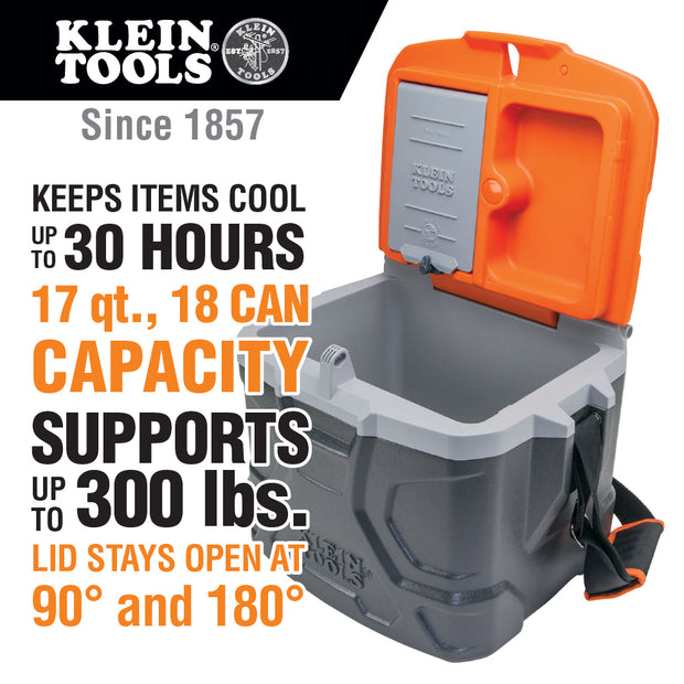 Klein Tools 55600 Lunch Box / Cooler, 17 Qt Insulated Lunch Box Holds 18 Cans, Keeps Cool 30 Hours, Seats 300 Lb, Tradesman Pro Tough Box