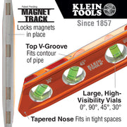 Klein Tools 935RB Torpedo Billet High-Viz Level with Rare Earth Magnet and Tapered Nose