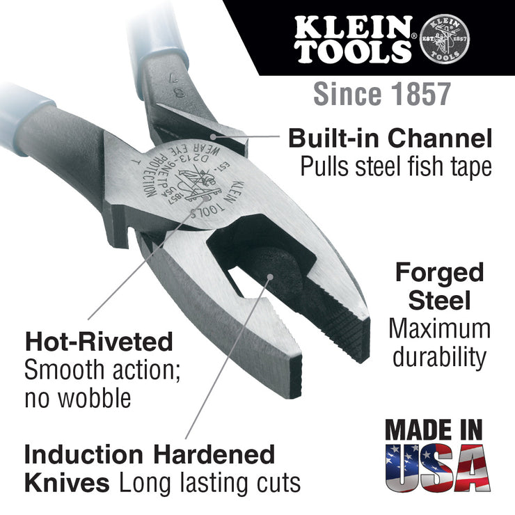Klein Tools D213-9NETP Lineman's Fish Tape Pulling Pliers, 9""