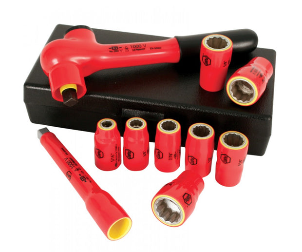 "Wiha Tools 31493 Insulated Inch Socket Set, 3/8"" Drive, 10 Pc."