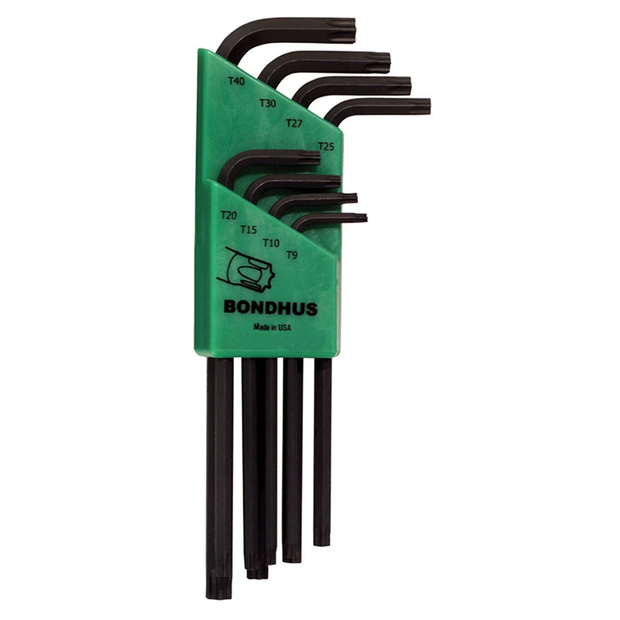 Bondhus 31834 Long Length Torx L-Wrenches, 8 Piece Set, Sizes T9-T40