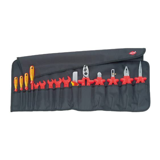 Knipex 98 99 13 Electrician Insulated Tool Roll Set, 15 Pc.