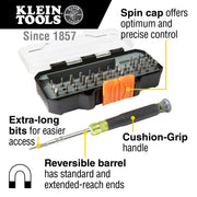 Klein Tools 32717 All-in-One Multi-Function Precision Screwdriver Set with Case