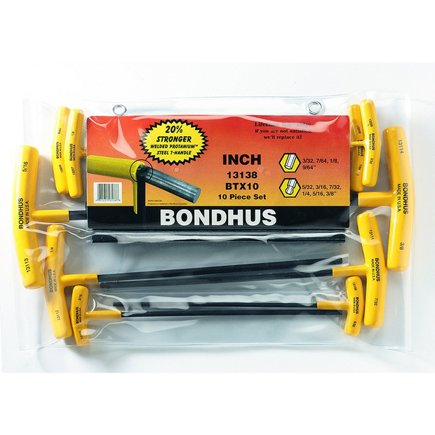 Bondhus 13138 Balldriver and Hex T-handle Set, 10 Piece