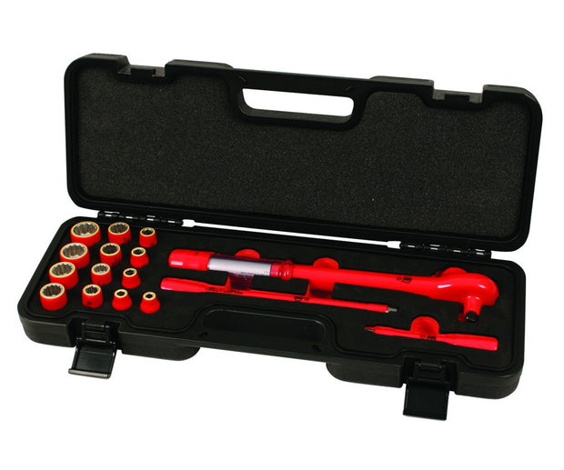 "Wiha Tools 30190 Insulated Drive Ratcheting Torque Wrench Inch Socket Set, 3/8"", 16 Pc."