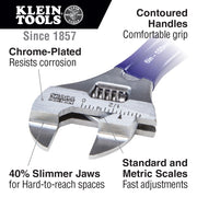 Klein Tools D86936 Slim-Jaw Adjustable Wrench, 8""