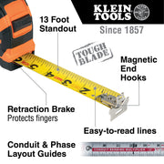 Klein Tools 9225 Tape Measure, 25-Foot Magnetic Double-Hook