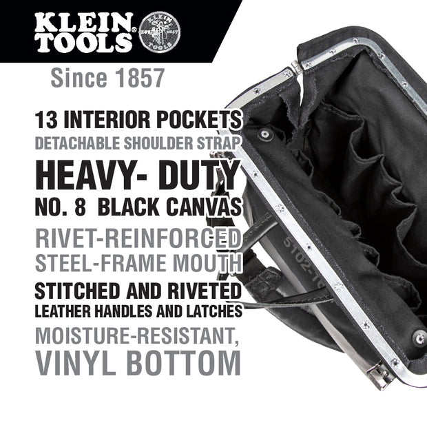 Klein Tools 510216SPBLK Deluxe Black Canvas Tool Bag, 16-Inch