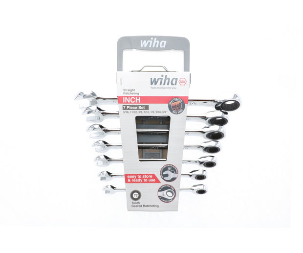 Wiha Tools 30393 Combination Inch Ratchet Wrenches 7 Piece Set