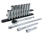 "Wiha Tools 33793 3/8"" Inch Drive 12 Point Deep Socket Set, 7 - 22 mm with Ratchet and Extensions, 20 Pc."