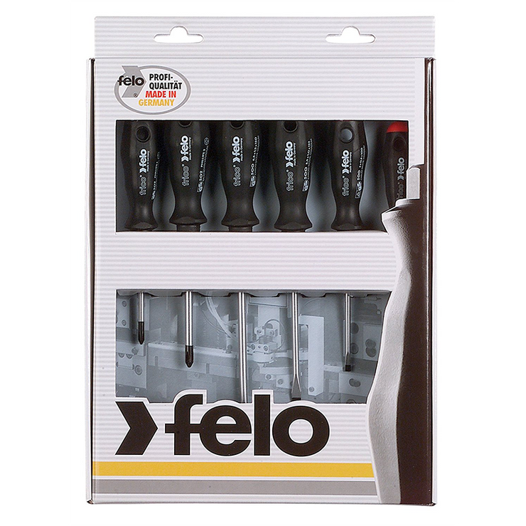 Felo 0715753521 Slotted & Phillips Screwdriver Set, 6 Piece