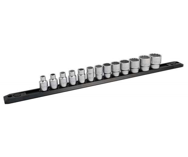 "Wiha Tools 33790 3/8"" Inch Drive 12 Point Socket Set, 1/4"" to 7/8"" with Ratchet and Extensions, 17 Pc."