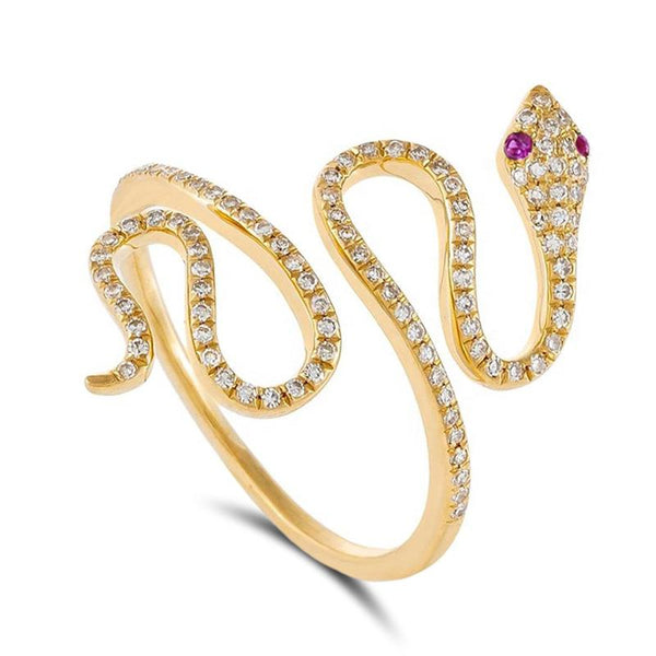 Bague Serpent Or Rubis