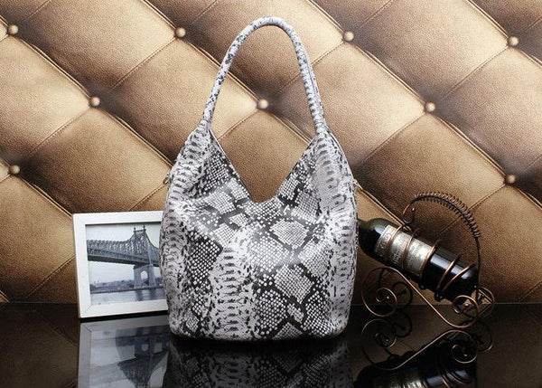 Sac Motif Serpent Gris