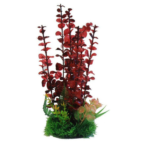 "Betta 9"" Red Combi Plastic Plant Plastic Plants Betta"