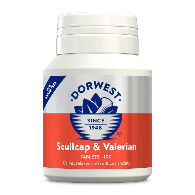 DW Scullcap & Valerian 100 Tablets Dog Treatments Dorwest Herbs