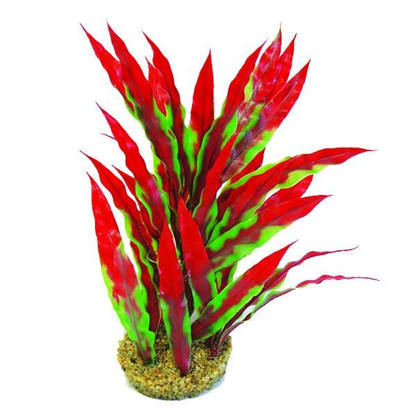 "Betta 10"" Green/Red Plastic Plant/Base Plastic Plants Betta"