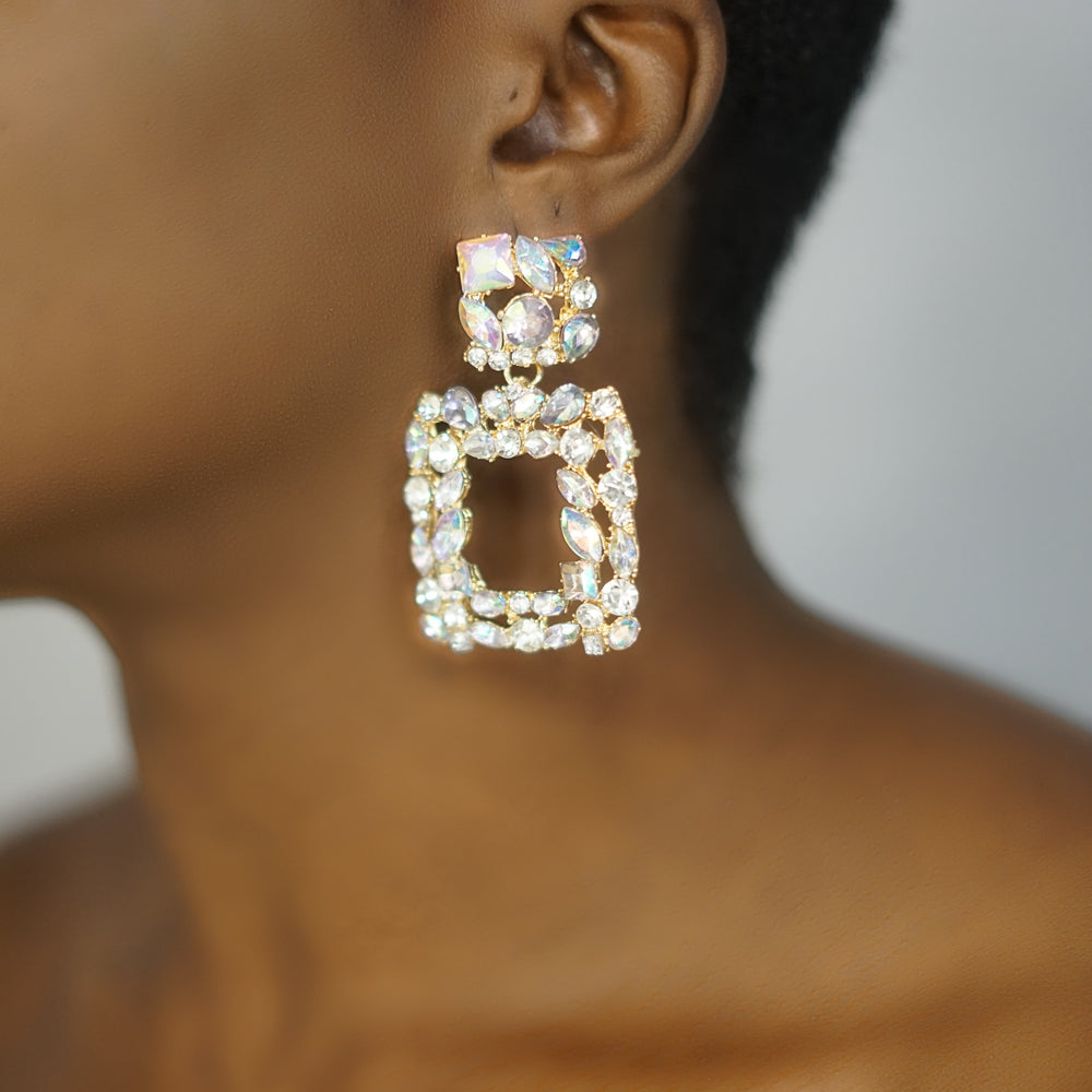 Load image into Gallery viewer, ARIA diamond stone drop earrings