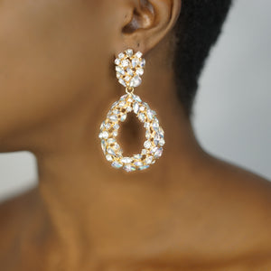 LILLY rhinestone oval drop earrings