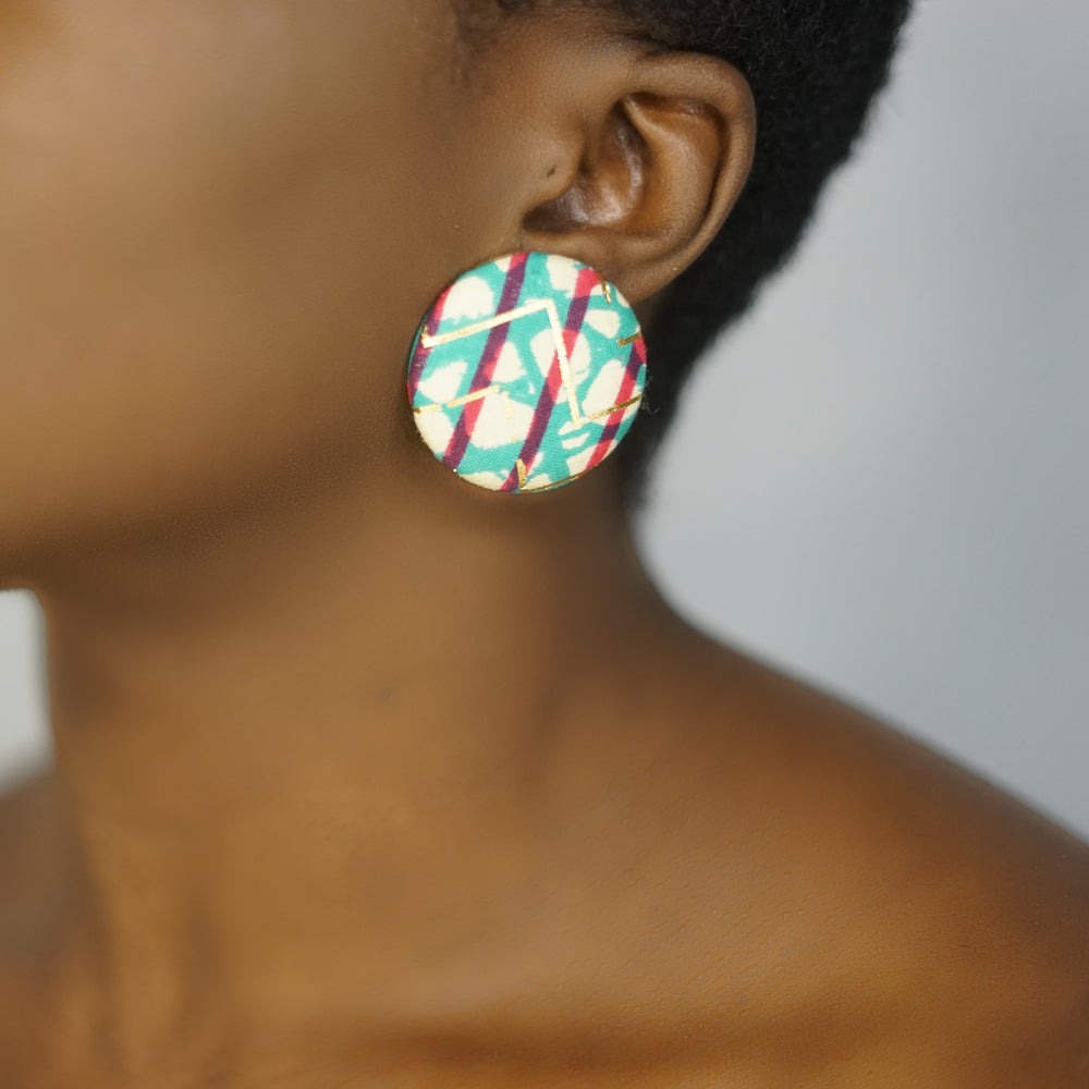 SENA large handmade ankara stud earrings