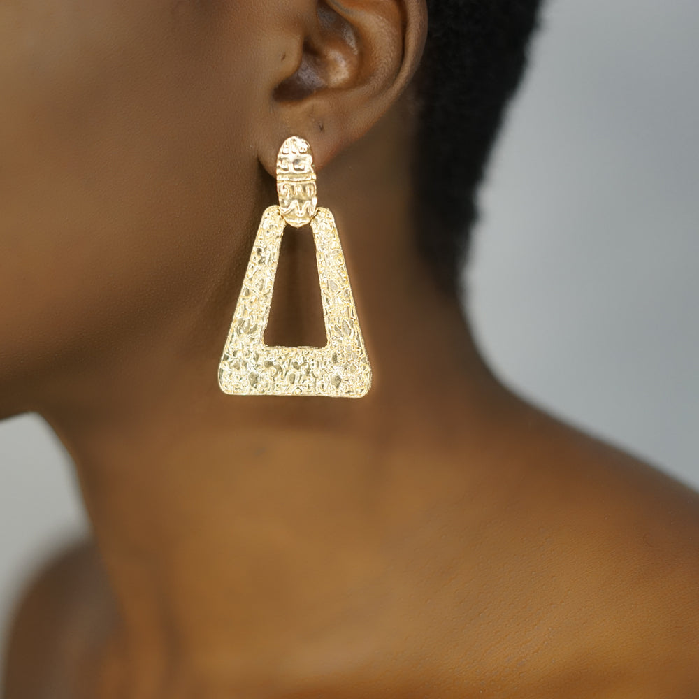 BELLA gold triangle drop earrings