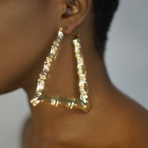 HARLEM gold triangle bamboo hoops