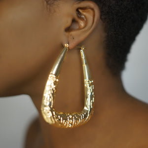 KADEJAH gold geometric textured hoops