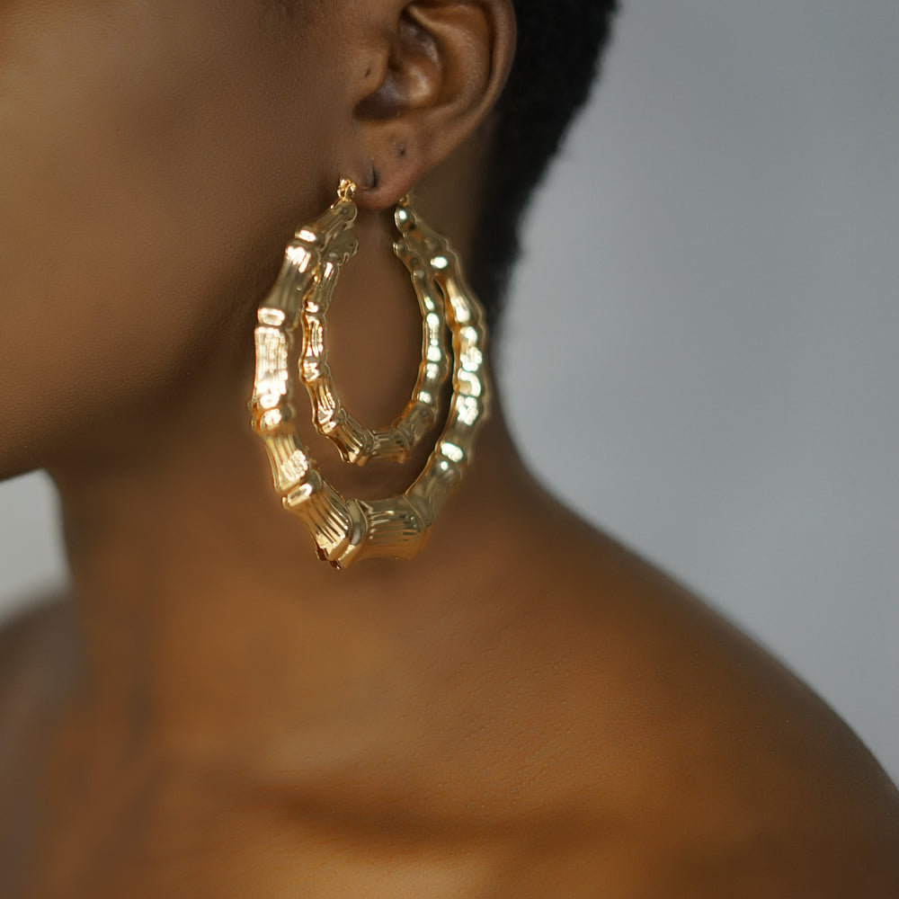 BROOKE gold bamboo double ring hoops